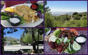 Idyllwild, Top Left: sauteed calamari, Bottom Right: salad w/roasted beets.