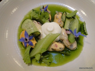 mussels with cucumber, eggplant sauce and sour cream foam