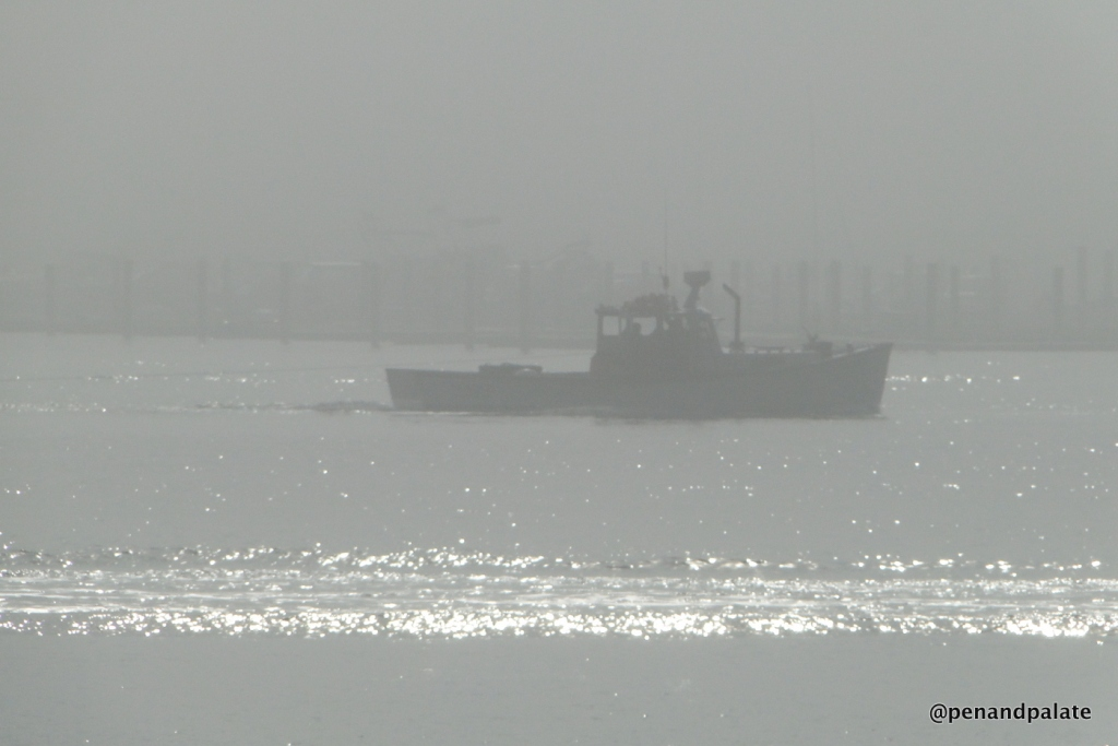 lobster boat in fog, Portland, Maine