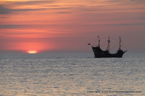 Sunset & pirate ship, Clearwater, Fl