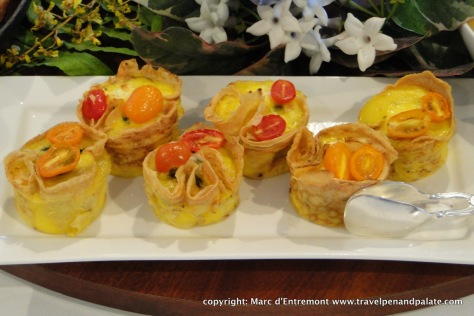 Maui Surfing goat cheese & Ho Farm Tomato Quiche at breakfast at the Moana Surfrider hotel (oldest in Waikiki)