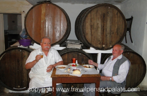 Demitri Koliolios (left) 4th generation owner Dyporto Wine Shop, Athens
