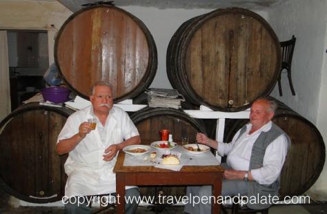 Demitri Koliolios (left) 4th generation owner Dyporto Wine Shop, Athens