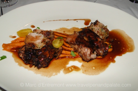 Veal ribs were glazed in deep, rich balsamic vinegar on a bed of baby carrots