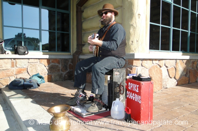 Spike Coggins, primitive musician, at Sun Valley Harvest Festival