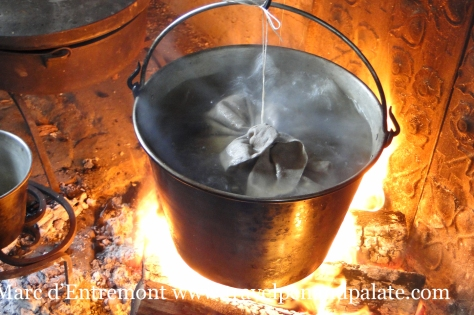 A pudding steaming in the hearth at the Thomas Massey House (c.1696) Broomall, PA