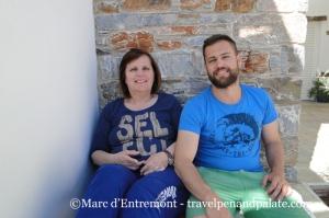 Mrs. Annezio Bouritis and her son Mixαlis Famelitis. Annezio Bakery