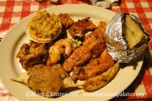 classic Cajun fried seafood platter