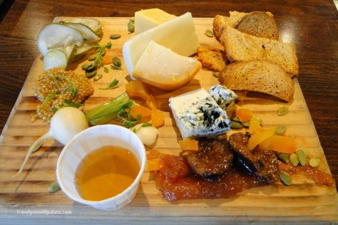 Locally sourced cheeses, jams, fruit tray