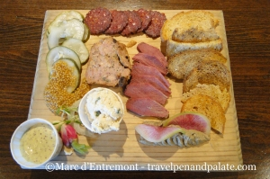 charcuterie board at the Snack Bar, Troegs Brewery, Hershey, Pennsylbvania