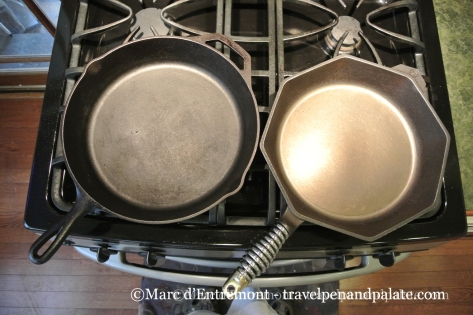Cast iron pans: (left) Lodge, (right) Finex