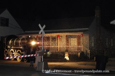 Polar Express Christmas trolly tour stop, Historic Pensecola, FL