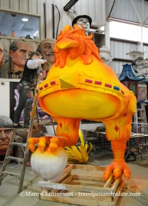 painting a prop at Mardi Gras World, New Orleans