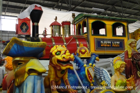 the immense Smokey Mary train float, Mardi Gras World, New Orleans