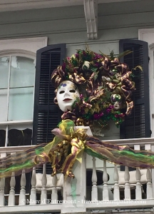 Mardi Gras decoration on a French Quarter house mid-January 2015