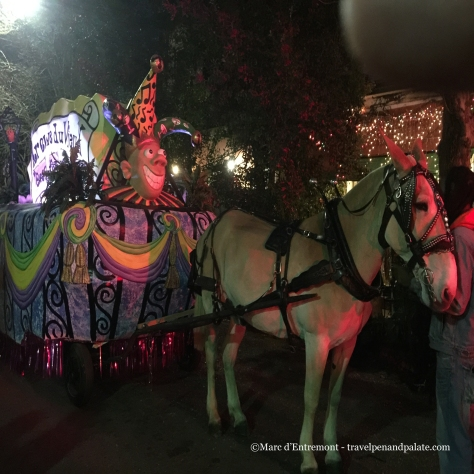 traditional Donkey drawn floats, Krewe du Vieux, Mardi Gras 2015