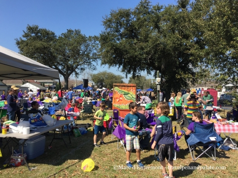 Campers and setting up for the Endymion parade Mardi Gras 2015 New Orleans on the neutral ground of Orleans Ave.