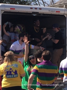 A U-Haul truck becomes a movable feast for an Endymion parade party, Mardi Gras 2015 New Orleans