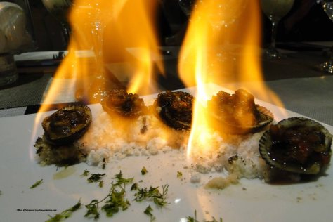 Flaming black clams, Los Milagros Restaurant, Centro Historico Quito