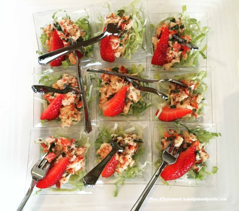 Mini lobster salads at Quebec Hilton