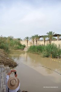 Site at which John the Baptist baptized Jesus of Nazareth, Jordan River: (left bank) the Hashemite Kingdom of Jordan, (right bank) Israel
