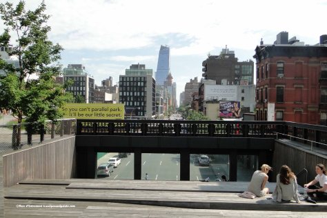 One of several High Line sitting areas to observe life in lower Manhattan