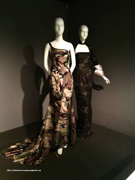 John Galliano camouflage evening gown at FIT, New York