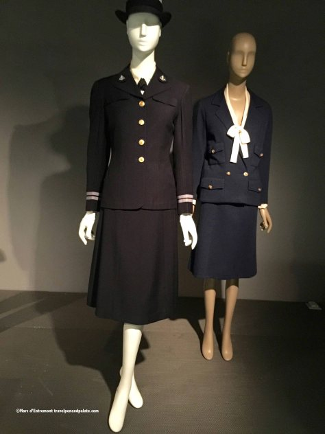 (left) 1943 W.A.V.E.S. uniform & (right) fashion influence