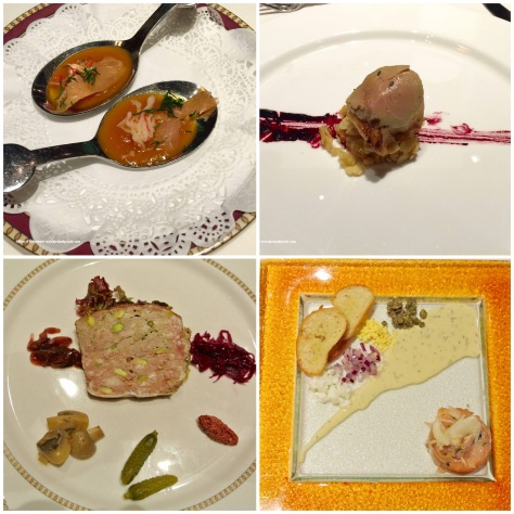 from top left: papaya with salmon and herbs, foie gras topping a scallop, country pate, timbal of smoked salmon salmon