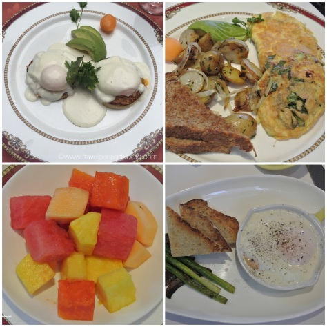 from top left: Eggs Benedict, omelet w/spinach & mushrooms, poached eggs in truffle cream, fresh local fruit