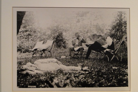 "This photo at Seminole Lodge is titled ""Waiting for another invention"" – T. Edison (on ground), H. Firestone (left) & Pres. W. G. Harding 1921 in Florida"