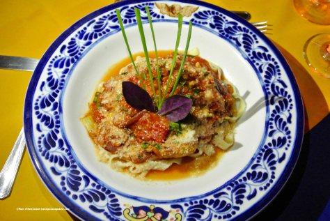 Gluten free spinach tagliatelle with artichokes