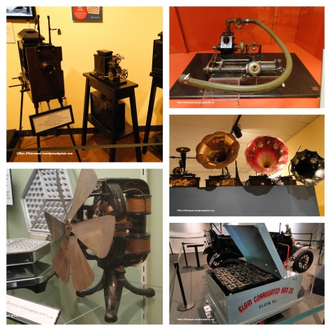 (clockwise left) motion picture projectors, water powered cylinder phonograph c.1890, early record players, electric industrial tractor c.1917, Edison Manufacturing Co. electric fan c. 1900