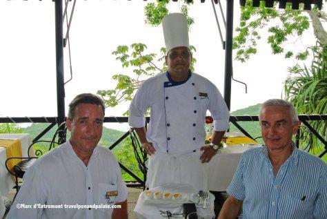 Frederick Nepveu, GM, Chef Fernando Adaniz & Denis Roy, owner/founder Villa Caletas & Zephyr Palace