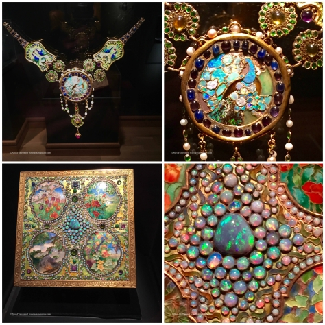 (top) jewel mosaic necklace & detail (lower) Opel mosaic box & detail