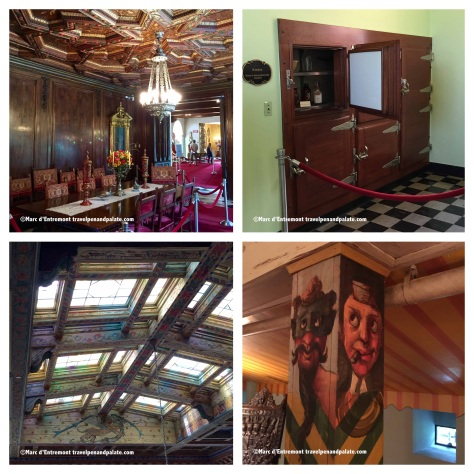 (left clockwise) dining room, built in electric refrigerator, painted ceiling in the grand hall and pillars in the game room