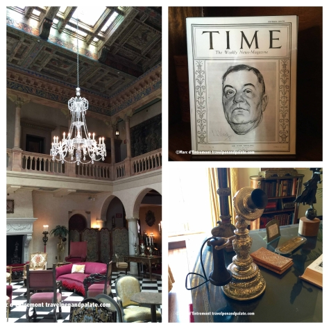 (left) grand hall with original Waldorf Astoria Hotel crystal chandelier, John as cover story in a mid-1920s Time magazine, John's sterling silver office phone at Ca' d'Zan