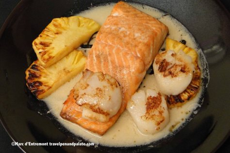 Sautéed salmon and scallops with caramelized pineapple and vanilla sauce