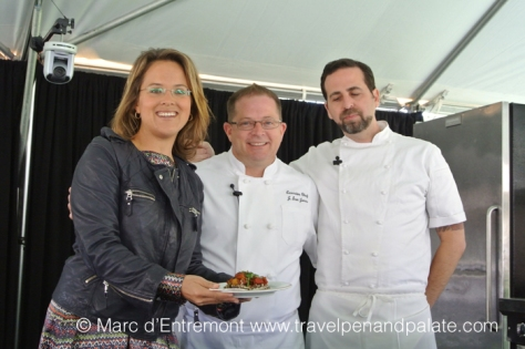 (from right) Chef Tal Ronnen, Chef Scott Jones &MC at Sun Valley Harvest Festival 2013