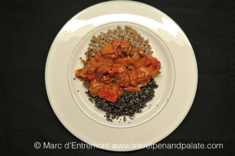 eggplant caponata, buckwheat and black quinoa