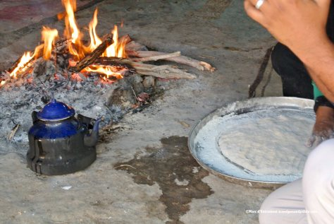 preparing Bedouin bread