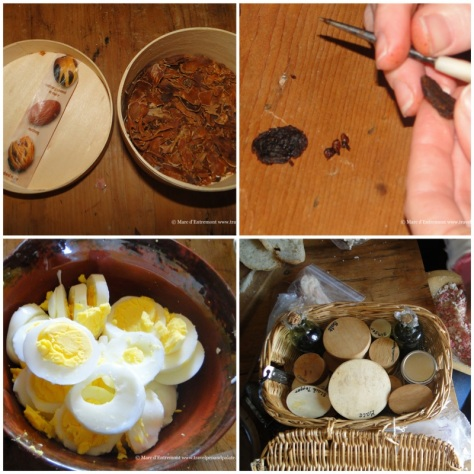 spices, eggs & removing seeds from currents w/ a needle