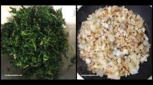 chopped cooked spinach pressed dry & sauteed onions w/pine nuts