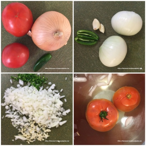 vegetable ingredients (note: blanched tomatoes lower right ready to have skin slipped off)