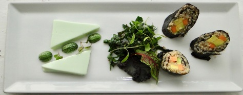Quinoa sushi with wasabi panna cotta