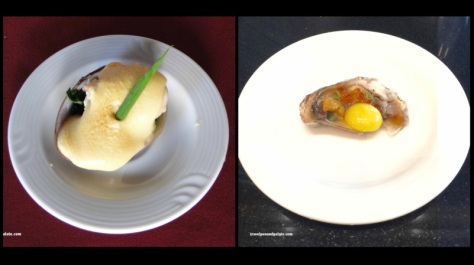 Oysters au gratin & Raw oysters with sea urchin & quail eggs