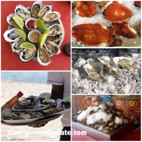 Other oyster dishes in Puerto Vallarta: (clockwise from top left) raw, grilled with zarandeado sauce, grilled on coals with butter, fresh oysters on ice, raw served on the beach