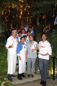 (left) Chef Thierry Blouet, (right) Chef Christian Krebs & staff at the Café des Artistes festival vegan dinner