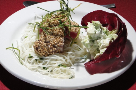 Chef Luis Noriega's Grilled Tuna topping Mint Scented Vermicelli